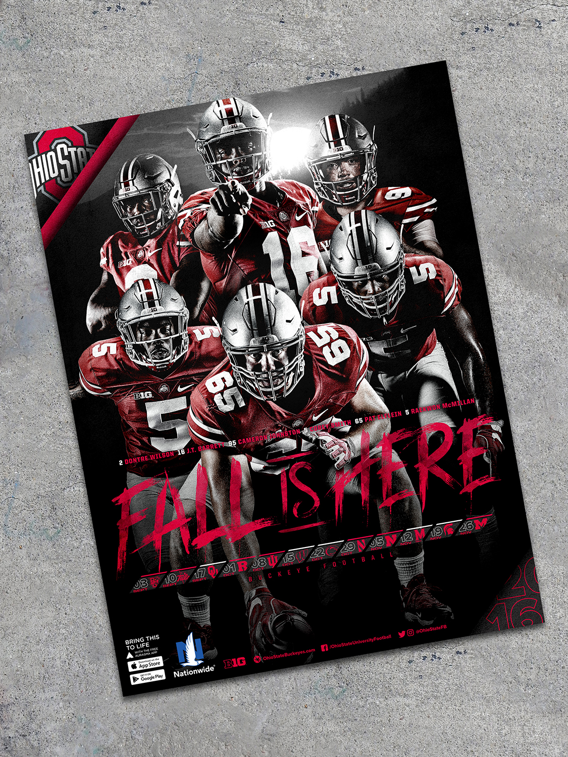 2016 Football Schedule Poster, Ohio State Athletics, 18x24